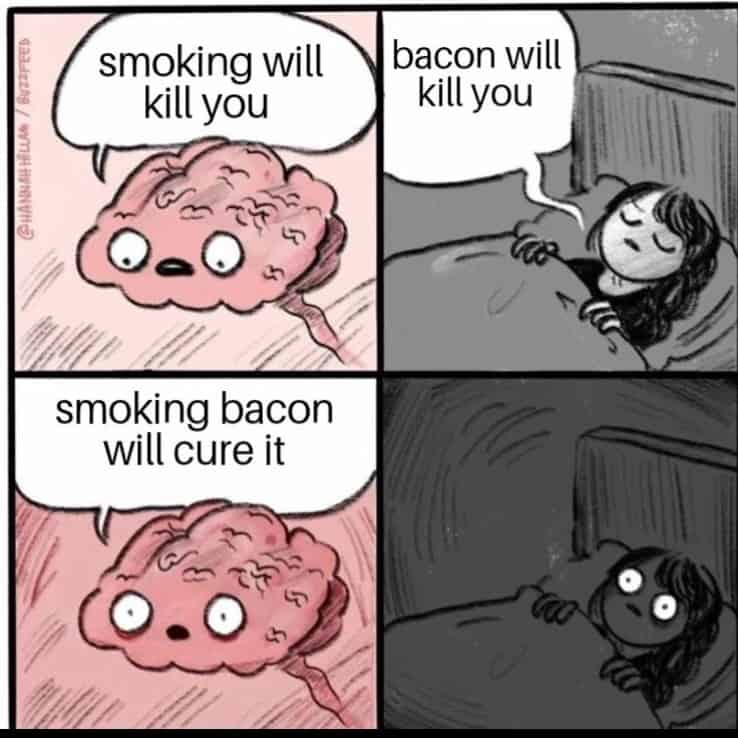 cartoon talking about how smoking and bacon might kill you, but smoking bacon will cure it