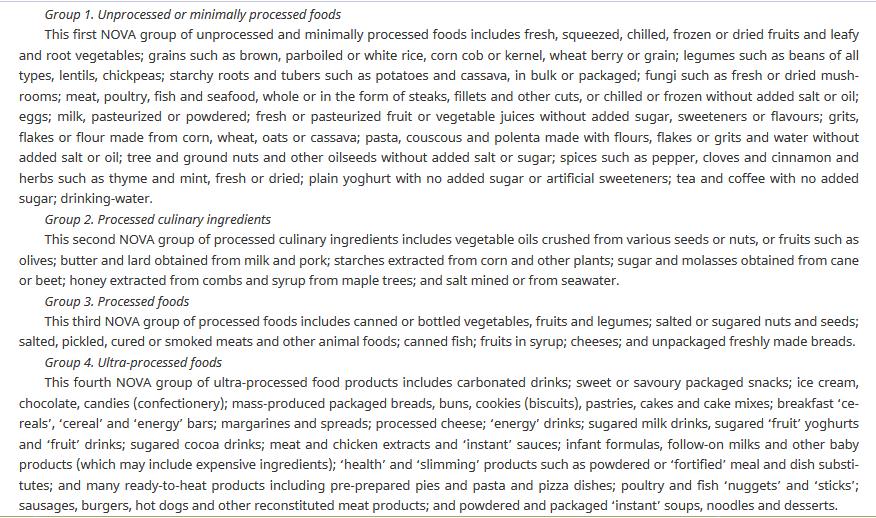 Description of NOVA classification for ultra-processed foods