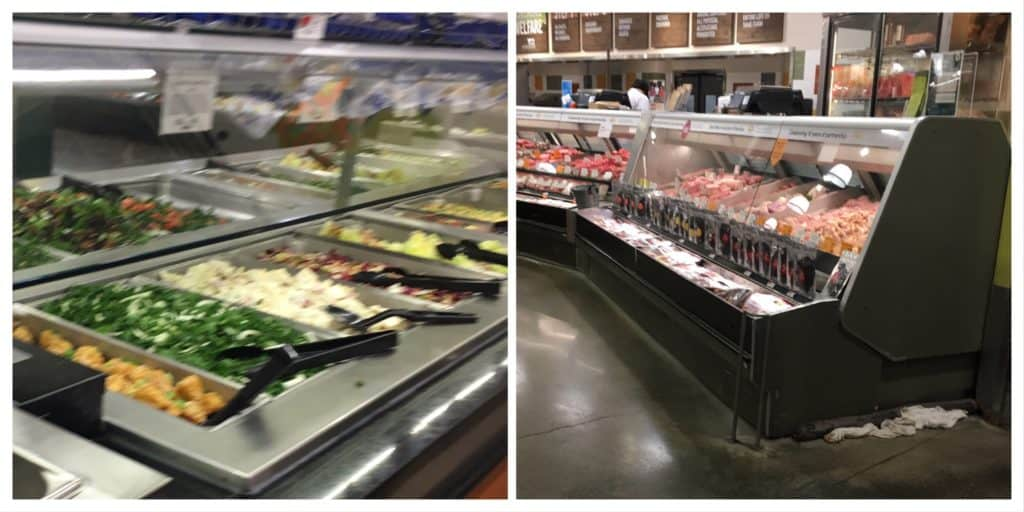 Not ultra-processed foods: salad bar and meat counter