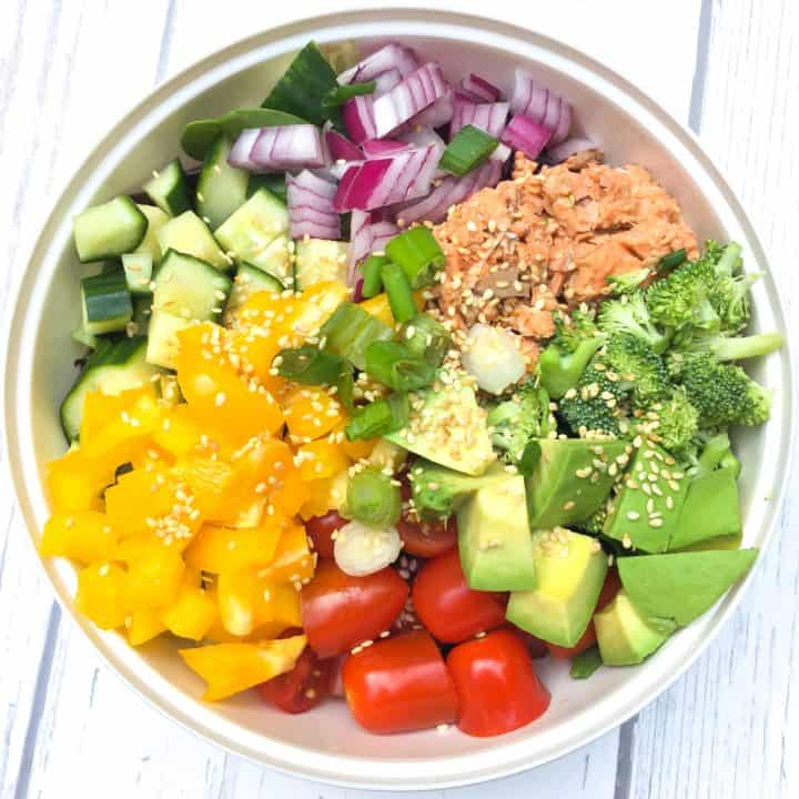 Bowl of Salmon Salad with Sesame-Orange Dressing – Veggie-Filled!