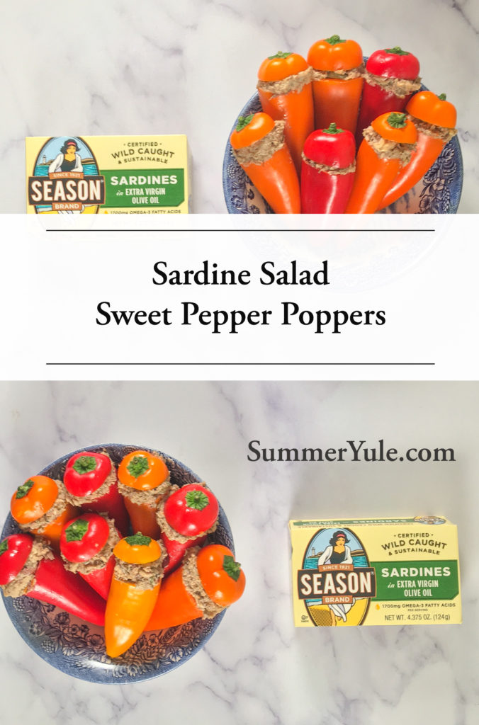 Two bowls of Sweet Pepper Poppers Stuffed with Sardine Salad photographed with packages of sardines