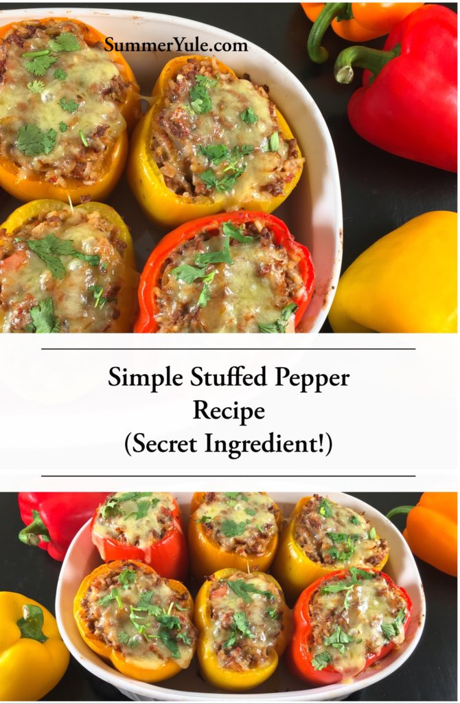 Two views of the finished Simple Stuffed Pepper Recipe with a Secret Ingredient!, photographed with fresh bell peppers