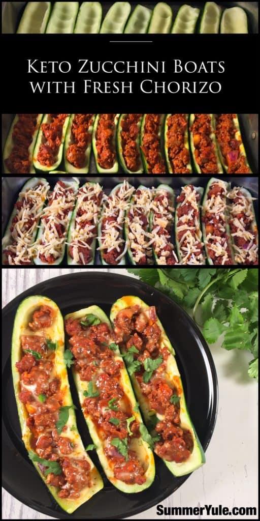 Keto zucchini boats with chorizo, Pinterest image