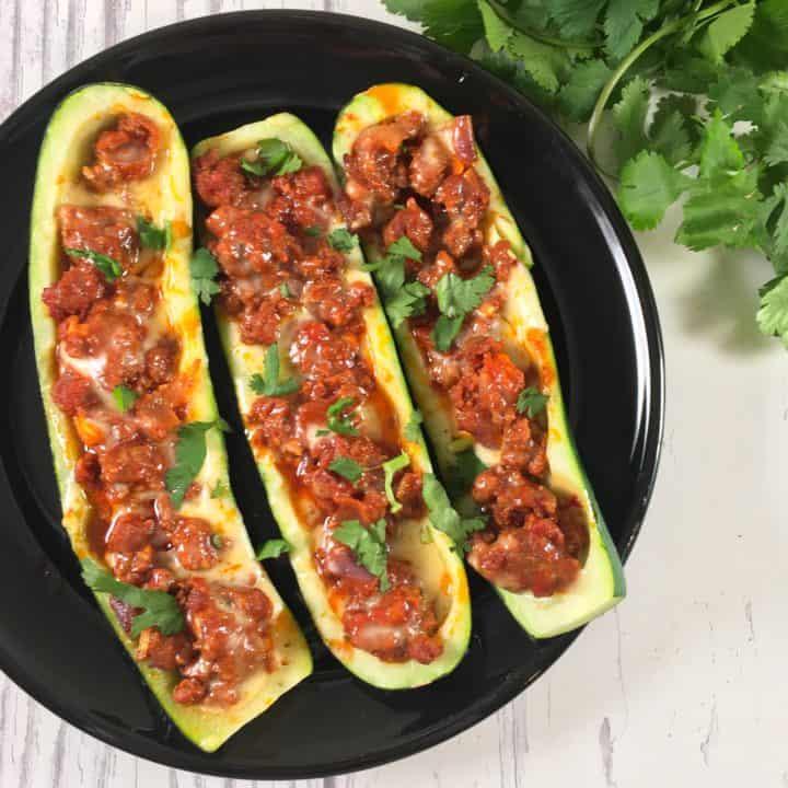 Keto zucchini boats with chorizo square image