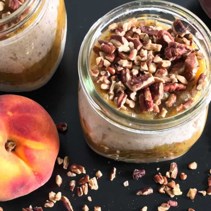 Low sugar peach jam overnight oats