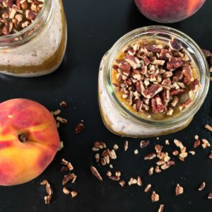 Low sugar peach jam overnight oats square