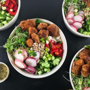 Baked popcorn chicken salad bowls square image