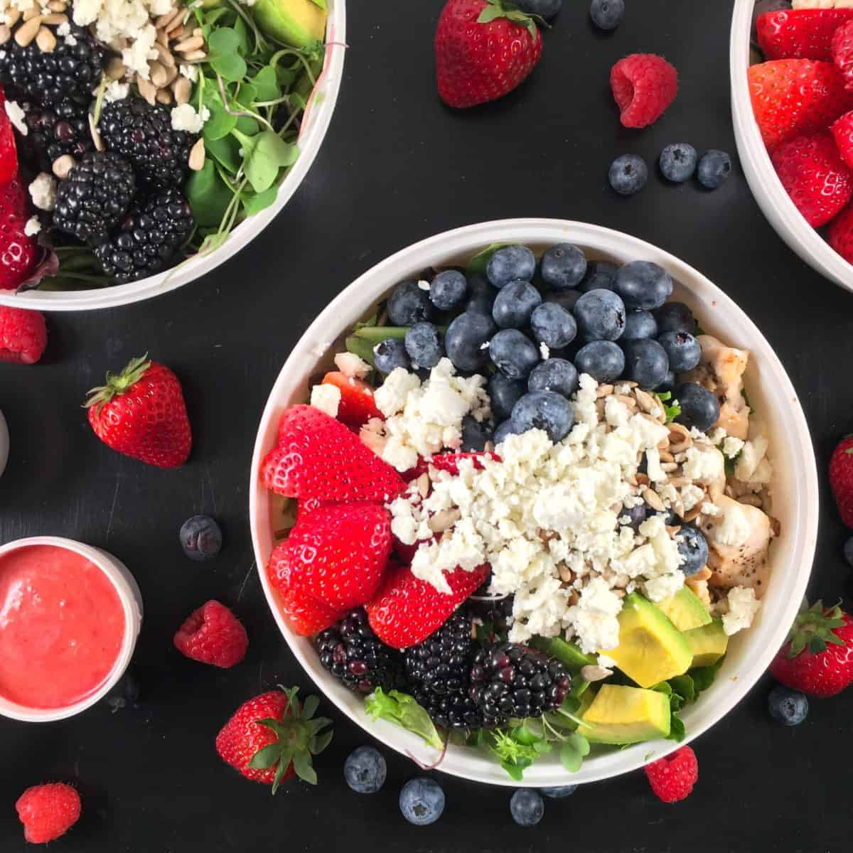 Berry salad with five types of berries