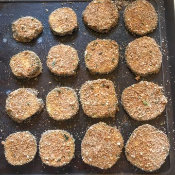 eggplant parmesan bites breaded with wheat germ