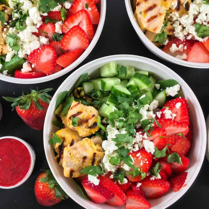 strawberry rhubarb salad with orange chicken