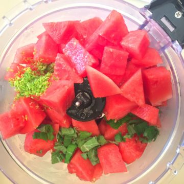 watermelon mint and lime in the food processor