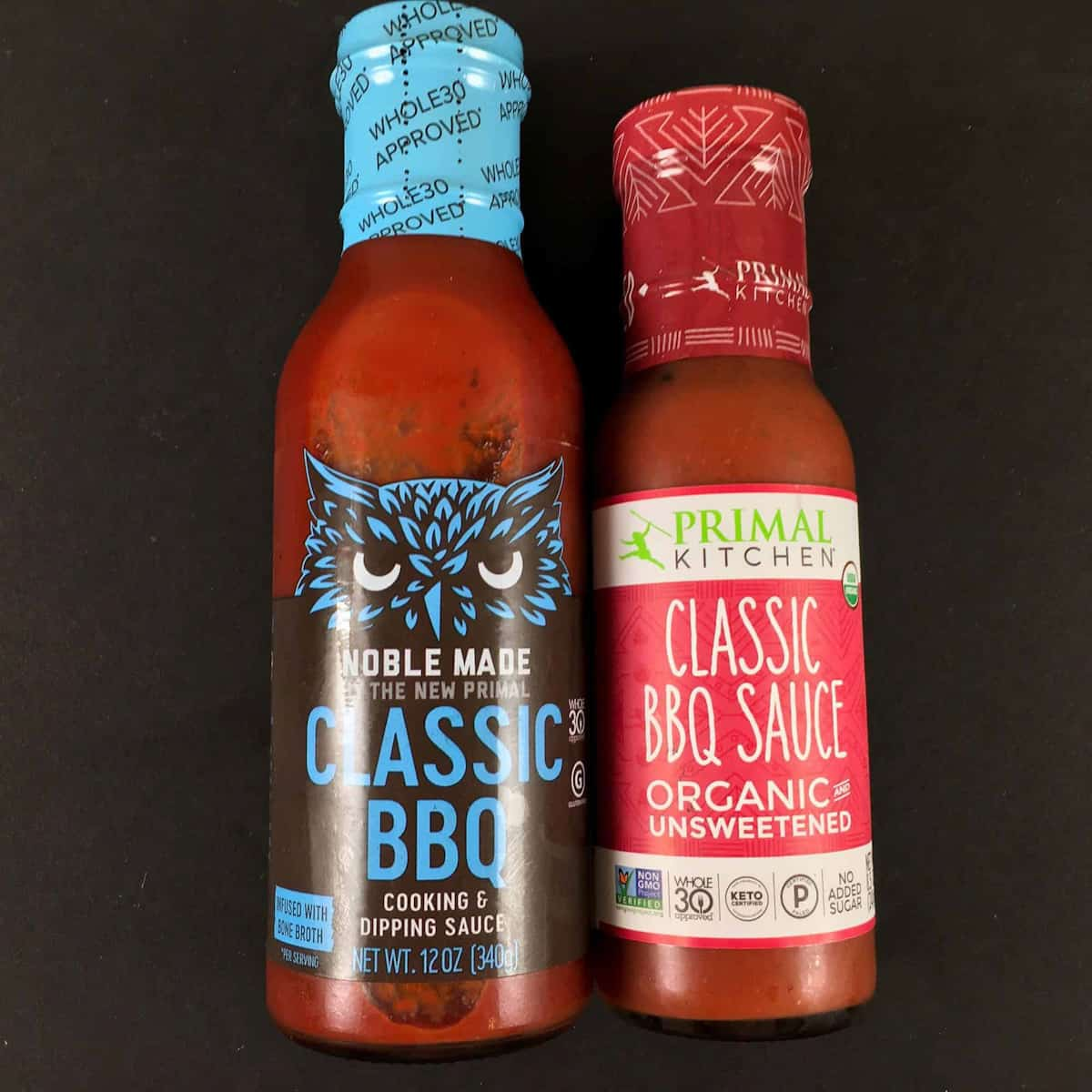 Primal Kitchen BBQ sauce and Noble Made BBQ sauce