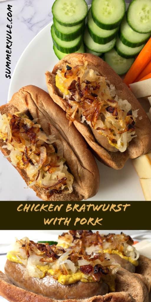 Chicken Bratwurst in a bun with caramelized onion mustard and sauerkraut
