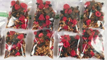 Nut-free trail mix in portion control baggies
