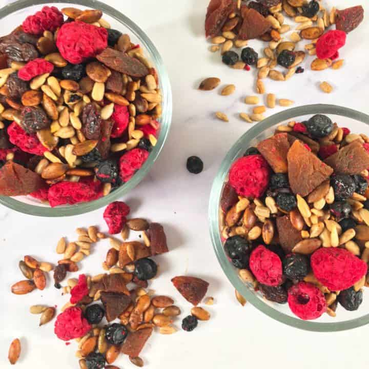 cocoa spiced pumpkin seeds with fruits and sunflower seeds