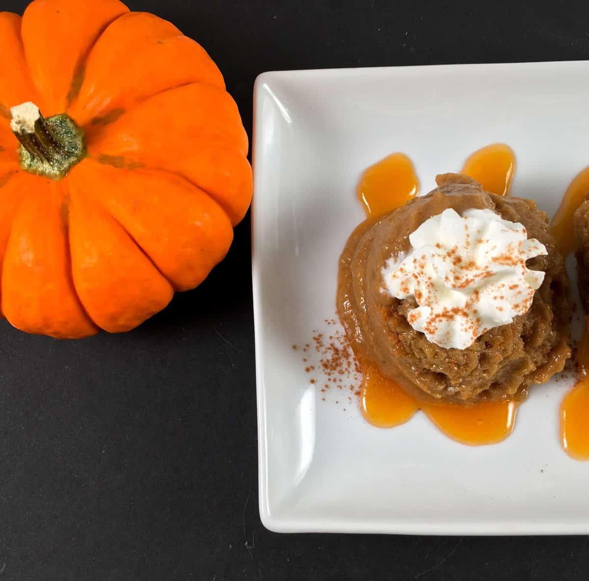 jack o lantern and dairy free pumpkin dessert