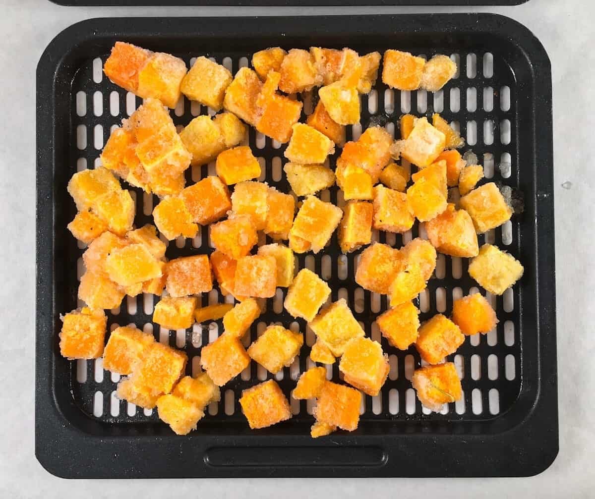 frozen butternut squash on air fryer rack