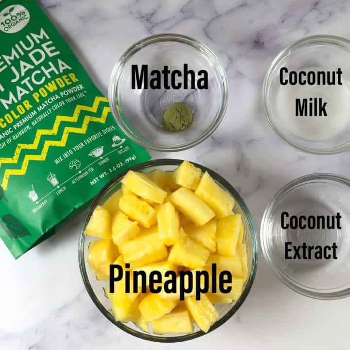 vegan ice lollies ingredients pineapple matcha