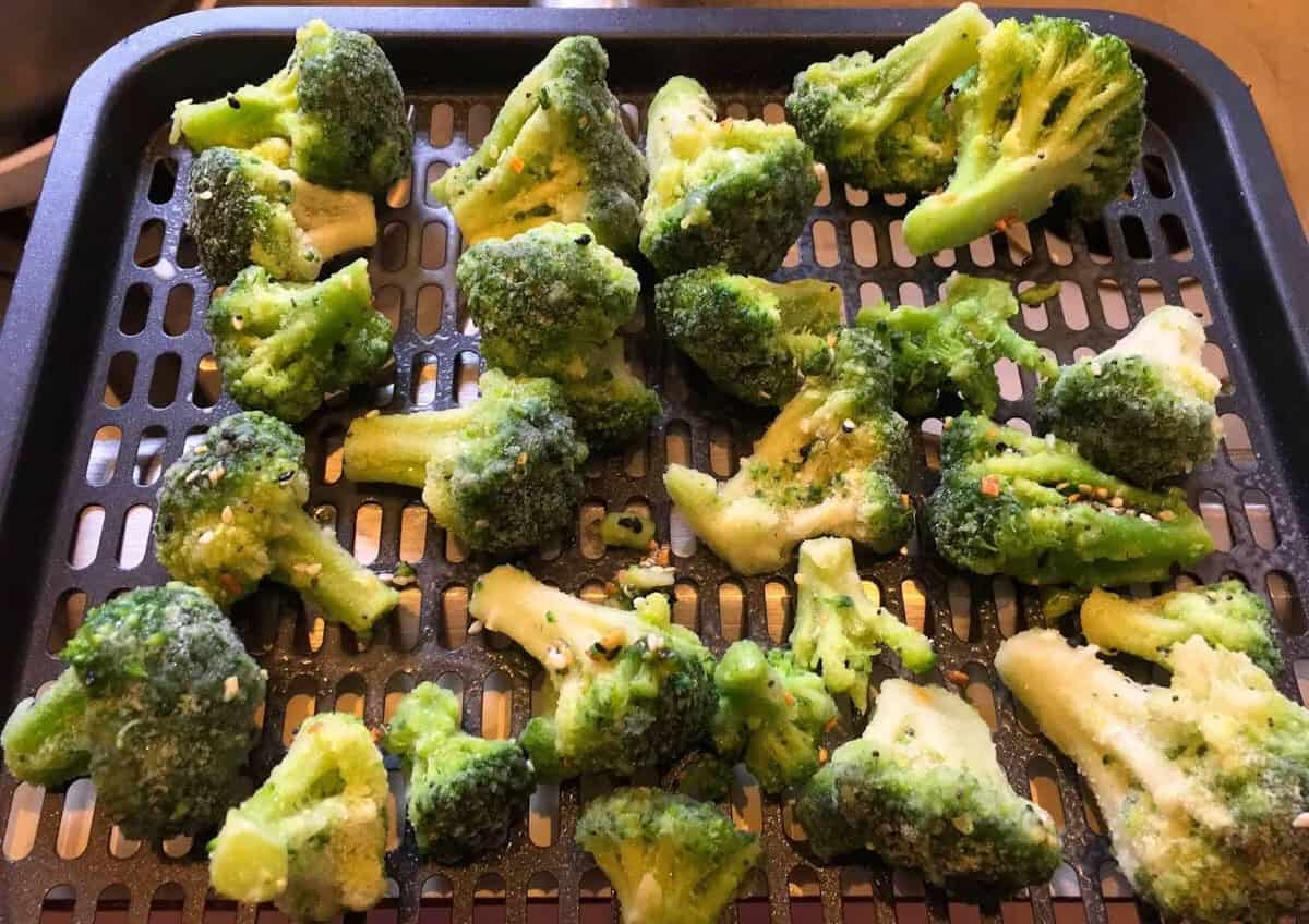 Broccoli on air fryer rack