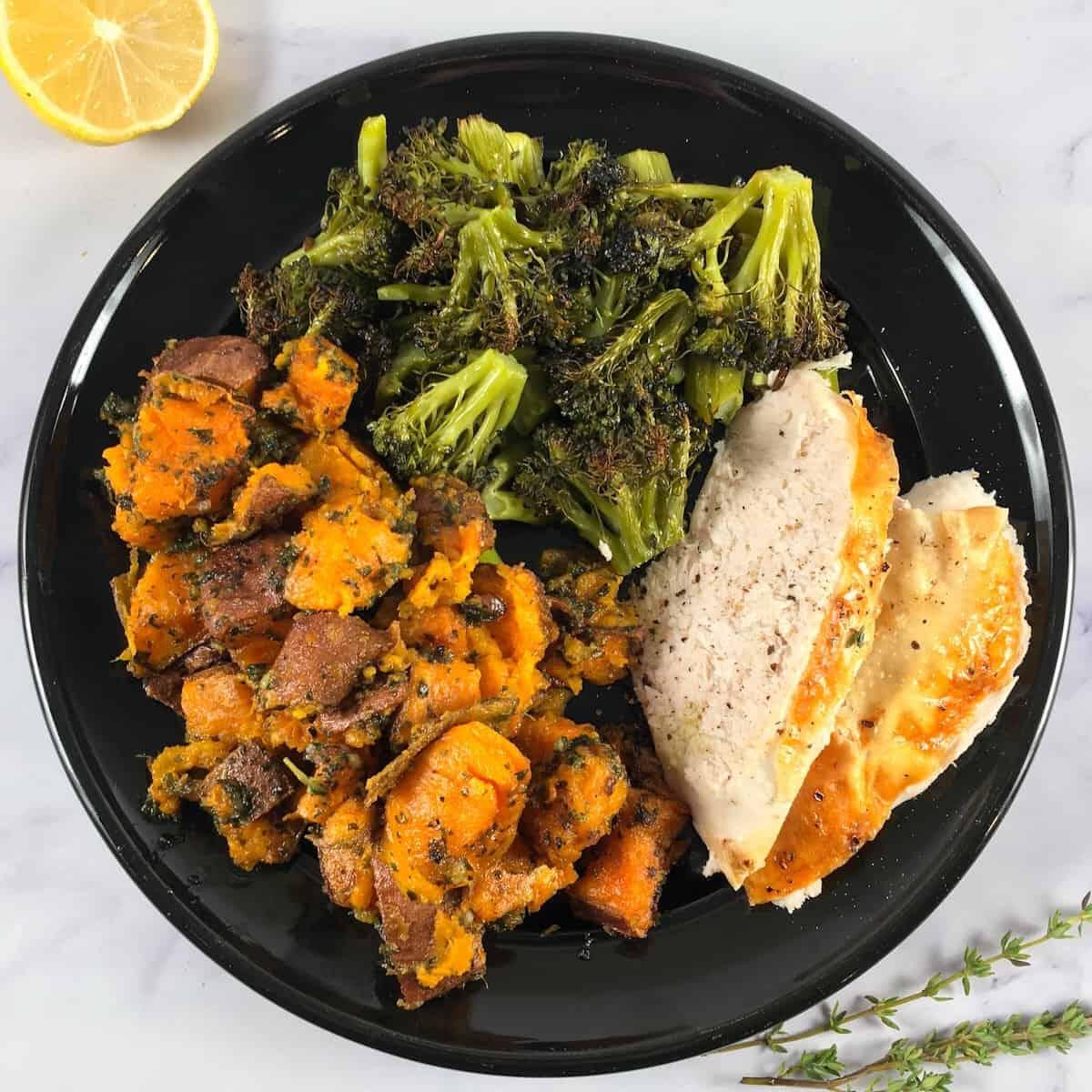 chicken broccoli and sweet potato meal