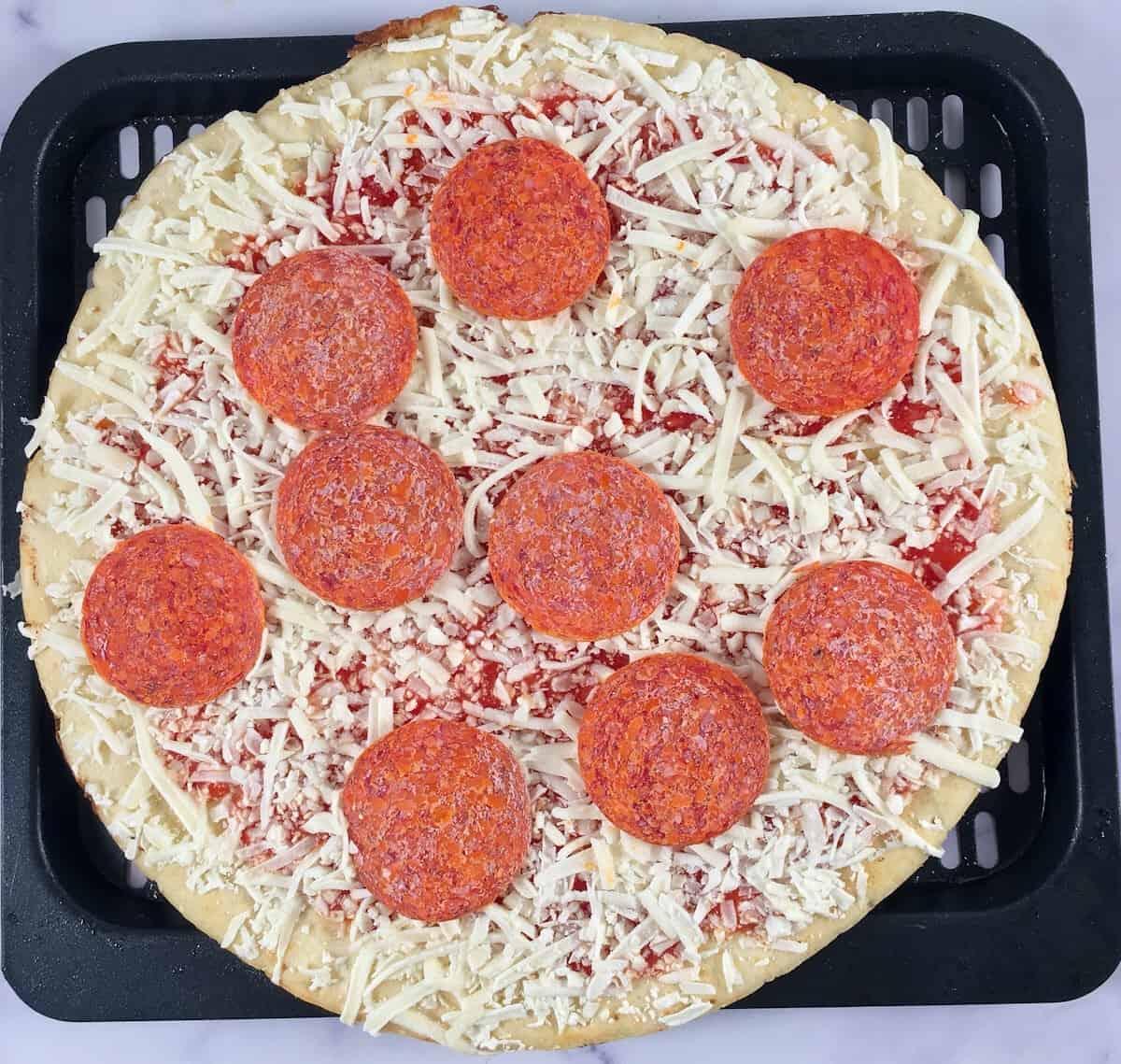 frozen pizza in air fryer tray