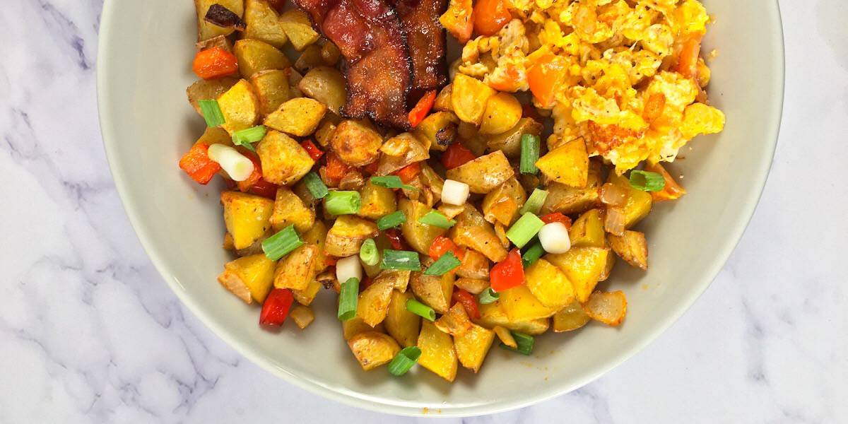 home fries cooked in an air fryer