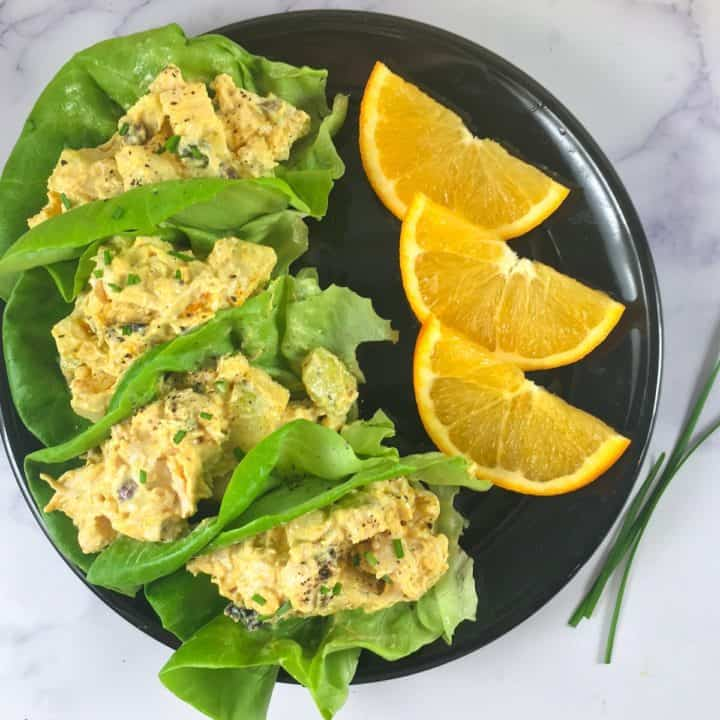 lettuce cups with turkey salad
