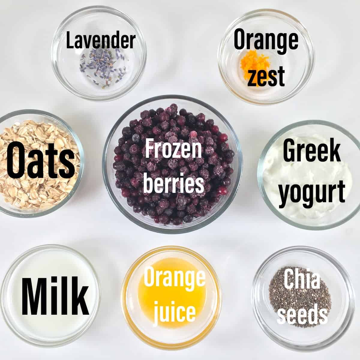 overnight oats with frozen fruit ingredients