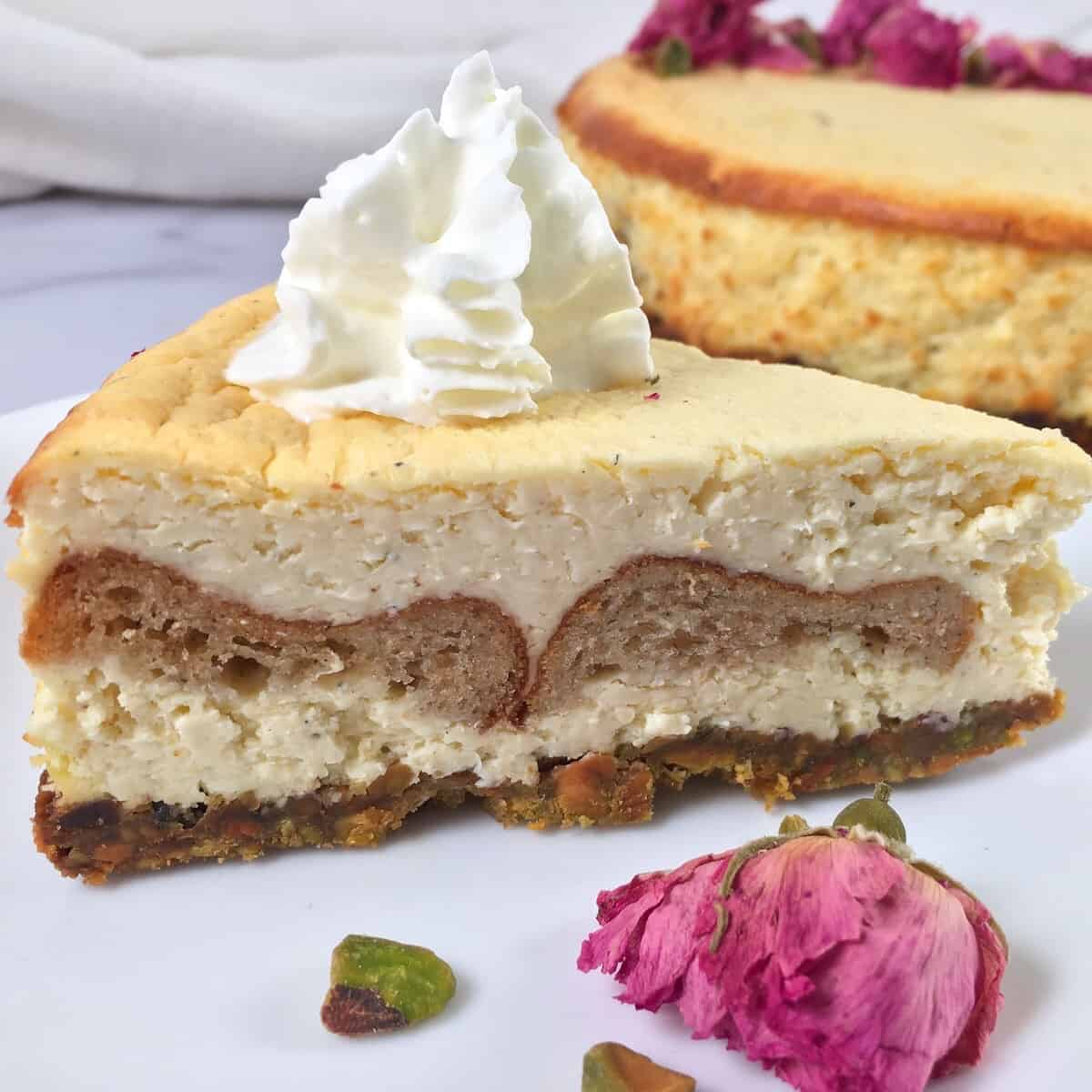 sliced cheesecake with rose blossoms