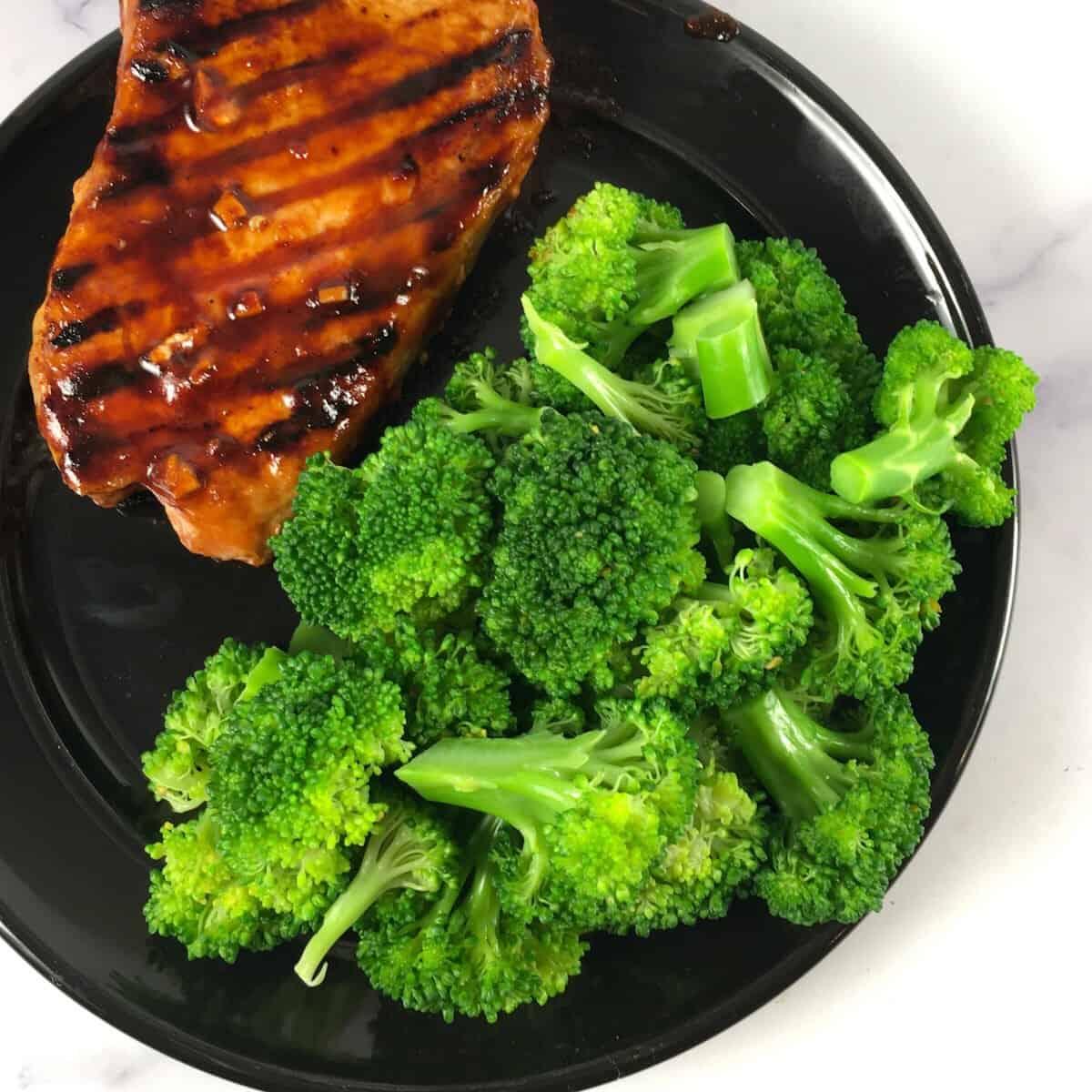 broccoli and pork chop