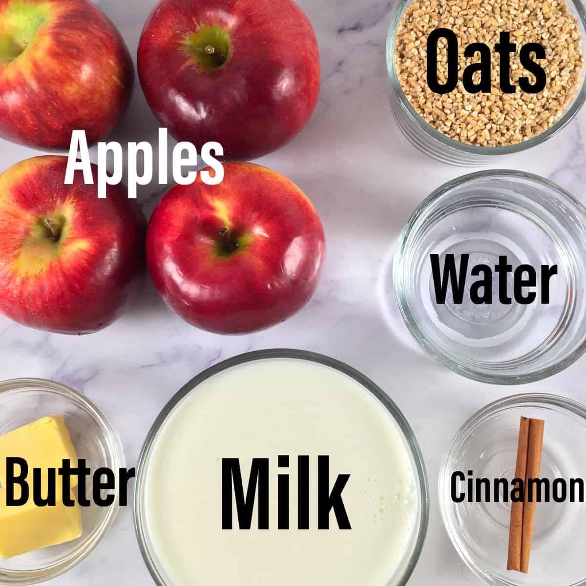 ingredients for cinnamon apple steel cut oats