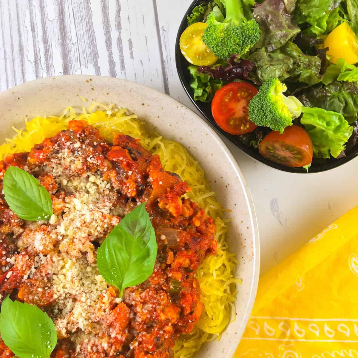 vegan bolognese on spaghetti squash