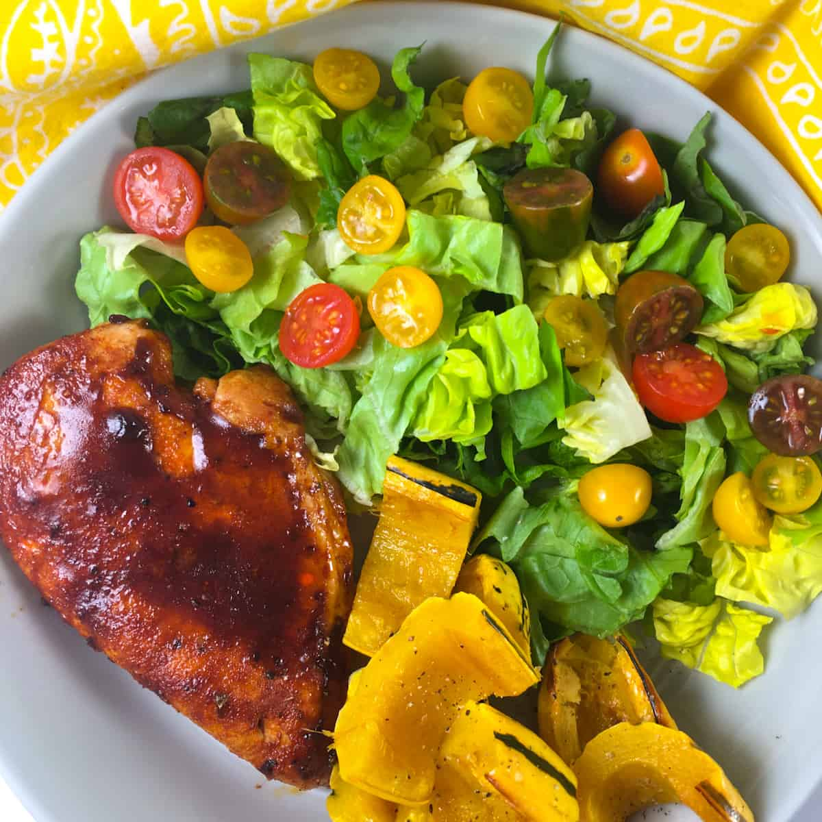 barbecue chicken breast squash salad