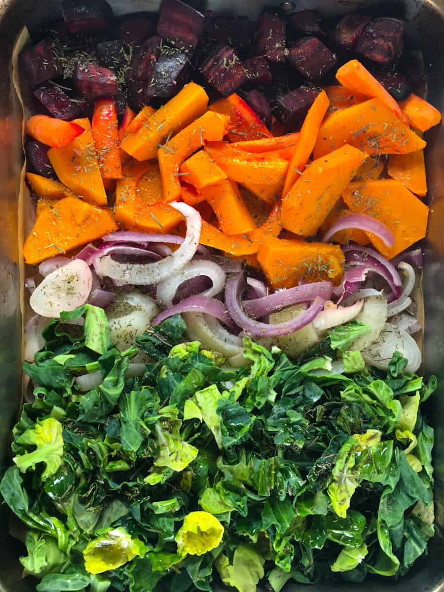 beets squash carrots onions Brussels sprouts