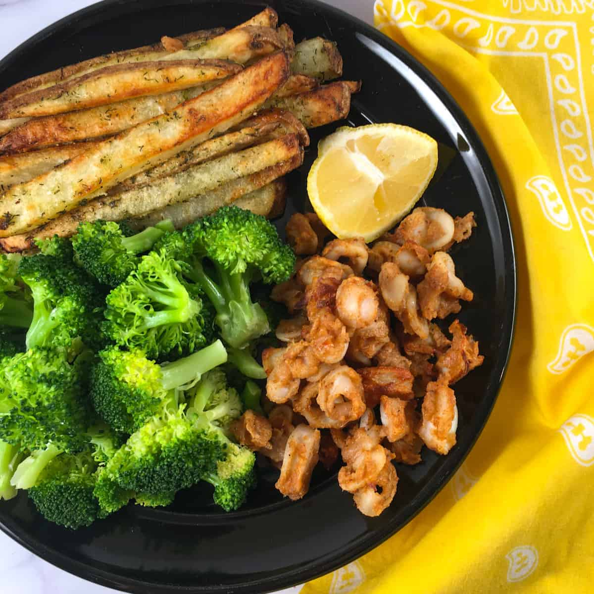 crispy squid fries broccoli