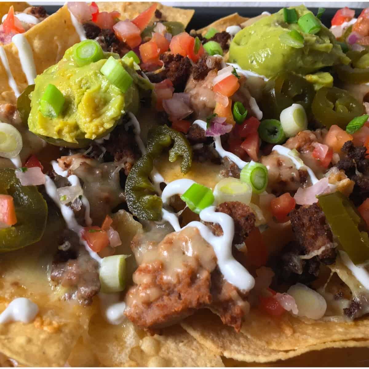 loaded air fryer nachos