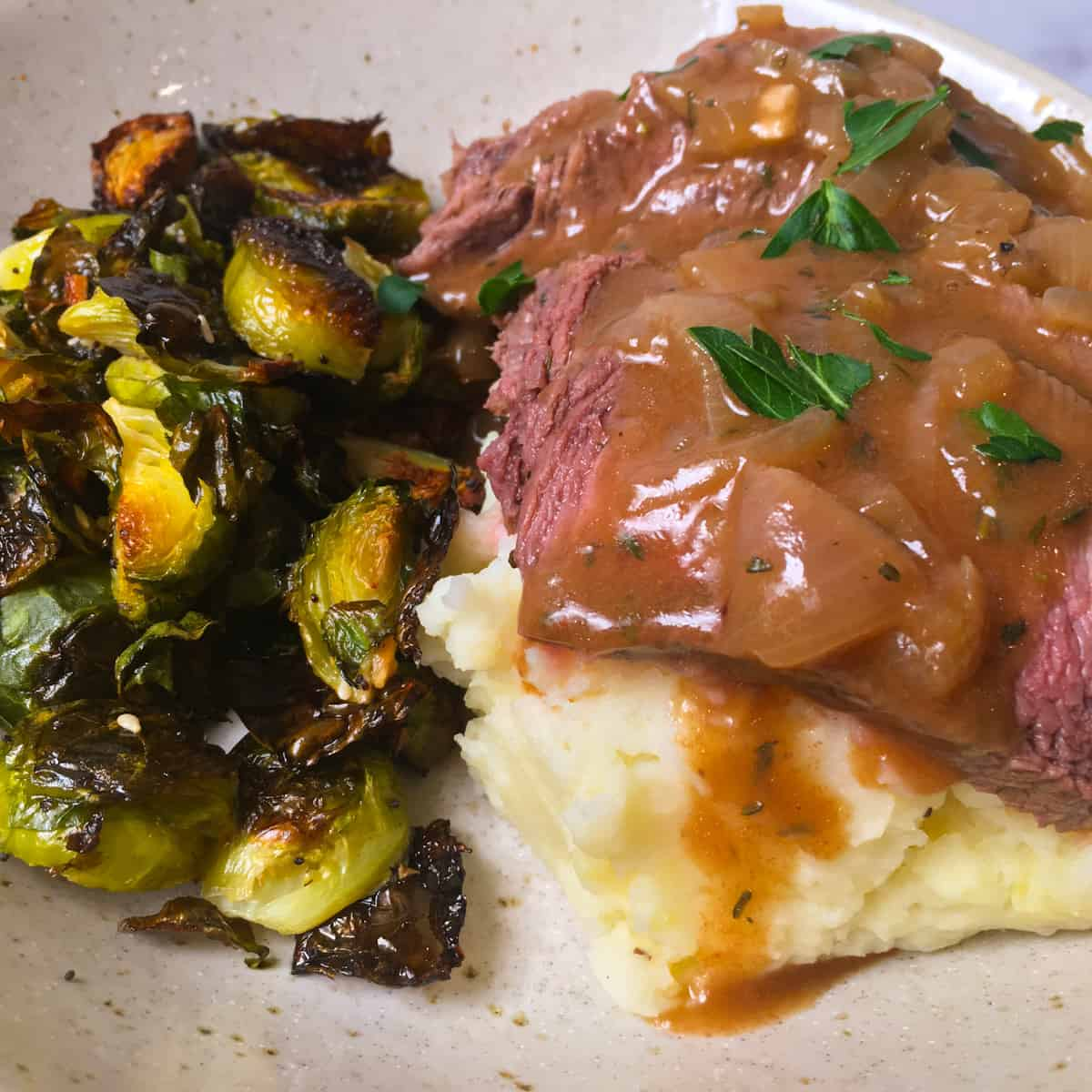 london broil gravy potatoes brussels sprouts