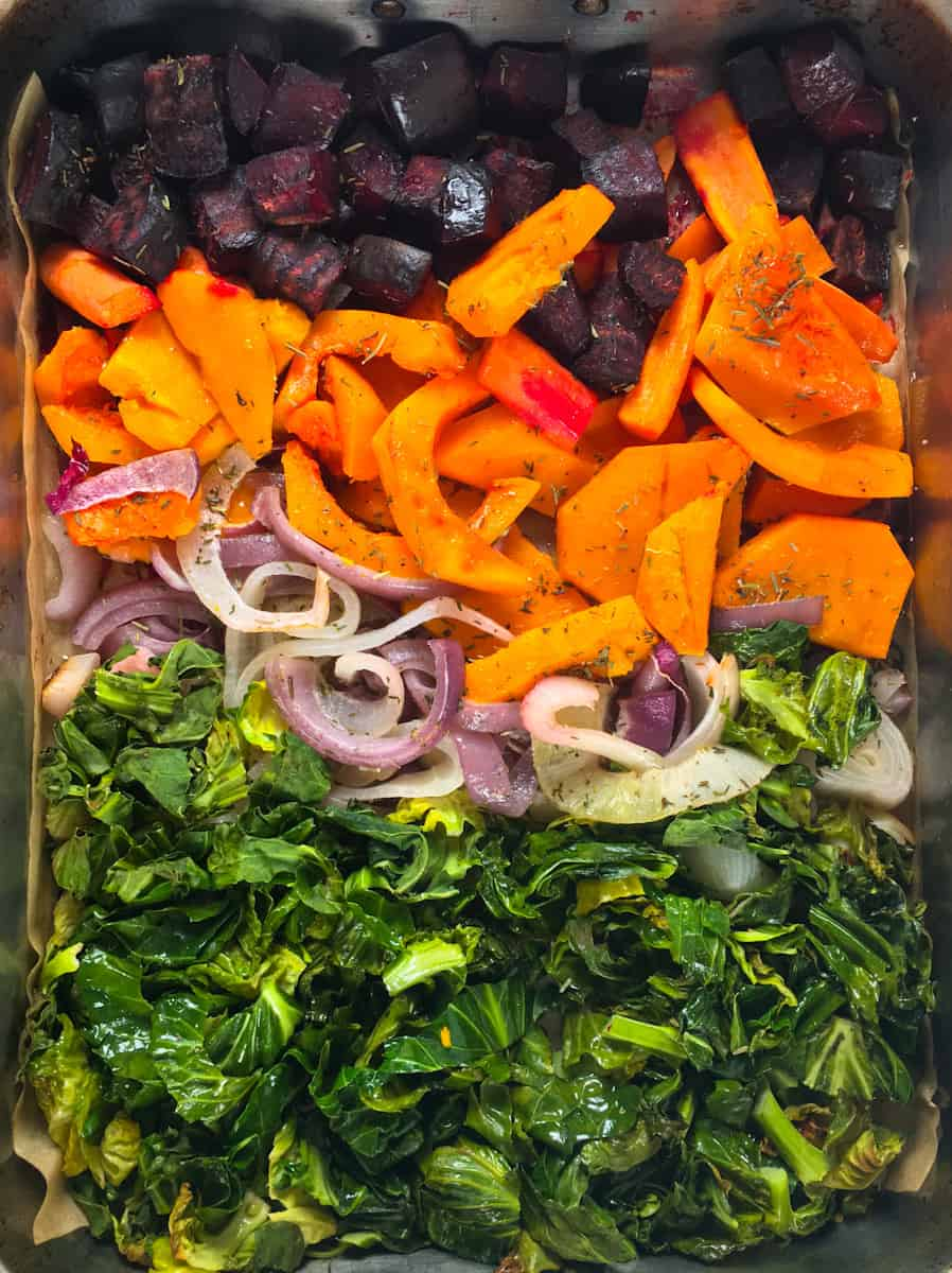 roasted vegetables in baking tray