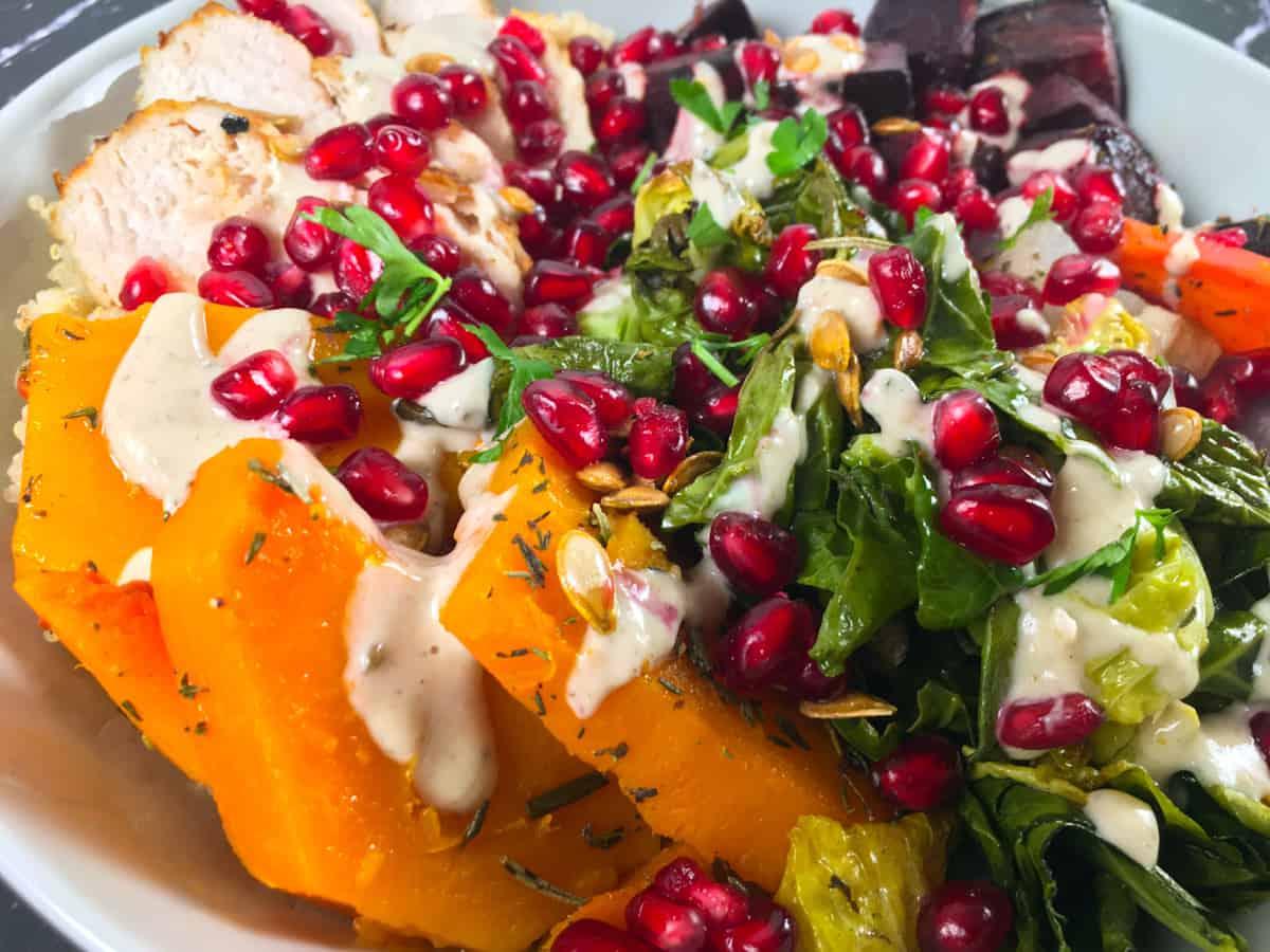 roasted veggies and pomegranate arils