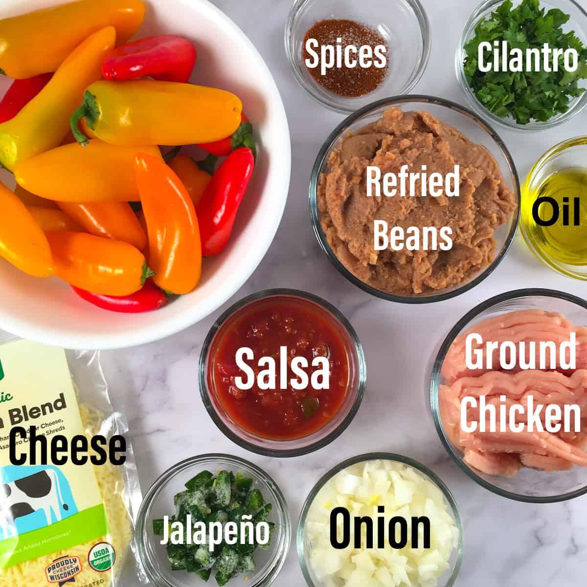 air fryer mini stuffed peppers ingredients