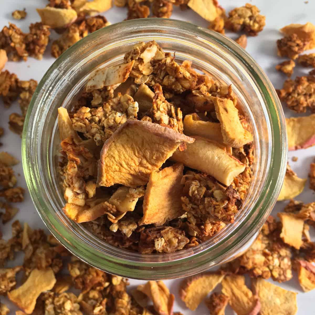 apples oatmeal walnuts pecans mason jar