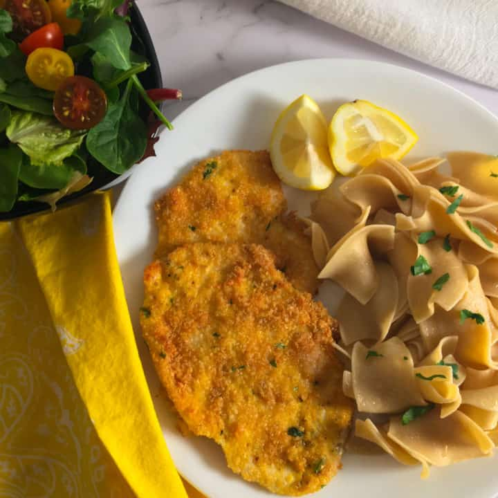 chicken schnitzel butter noodles