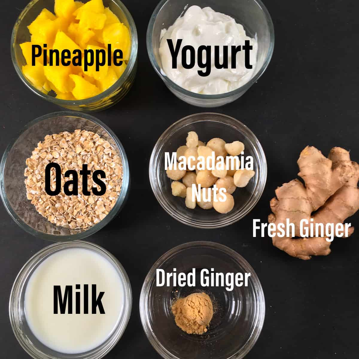 pineapple overnight oats ingredients