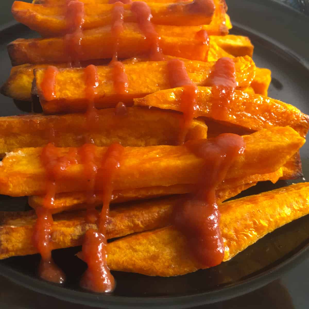 roasted yams with ketchup