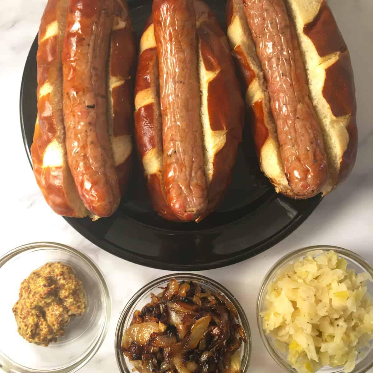 bratwurst mustard onions sauerkraut