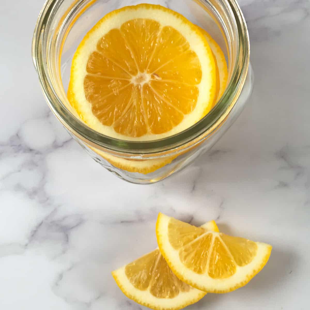 meyer lemon slices mason jar