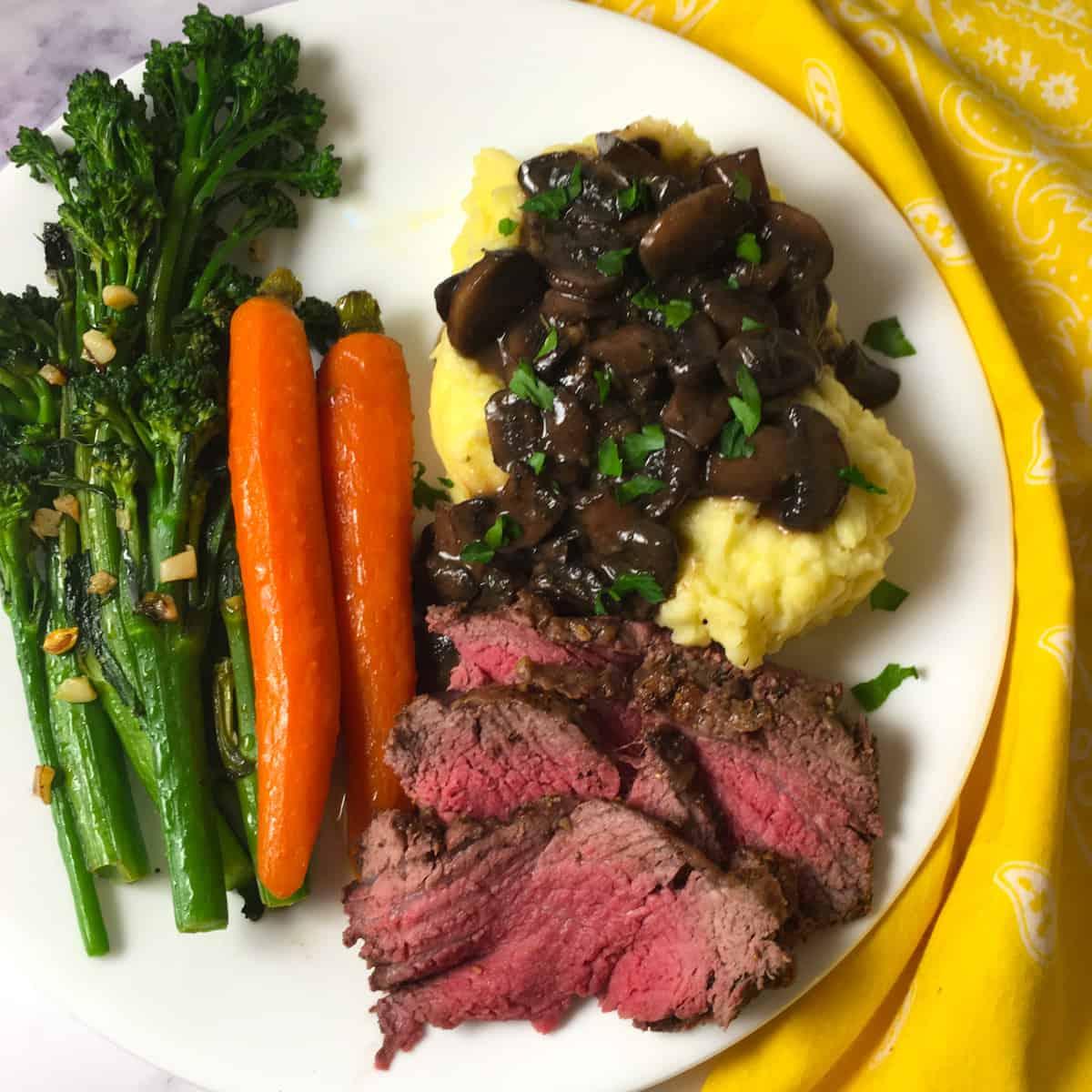 roast beef carrots broccolini potatoes gravy