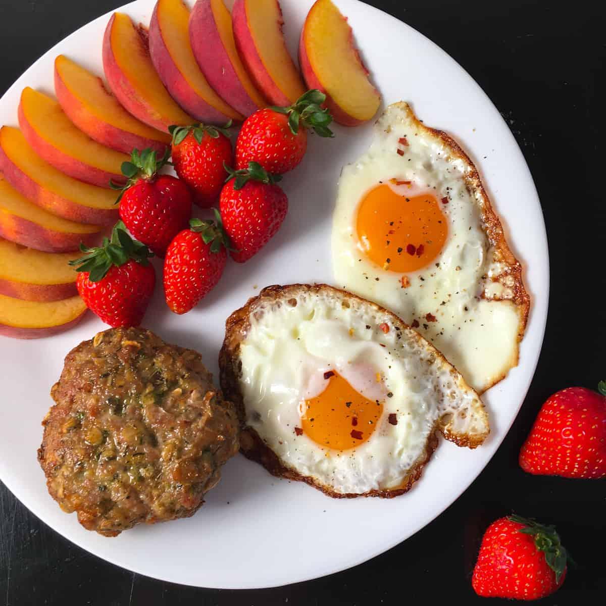 sausage eggs peaches strawberries