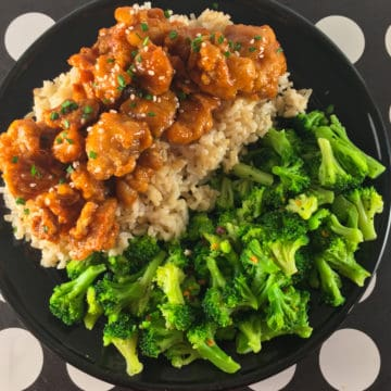TJs orange chicken broccoli rice