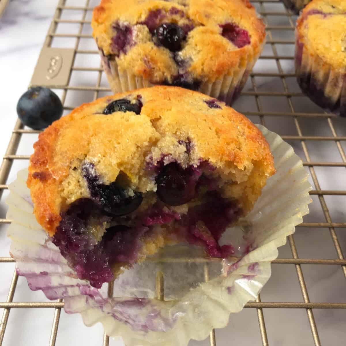 half eaten blueberry muffin